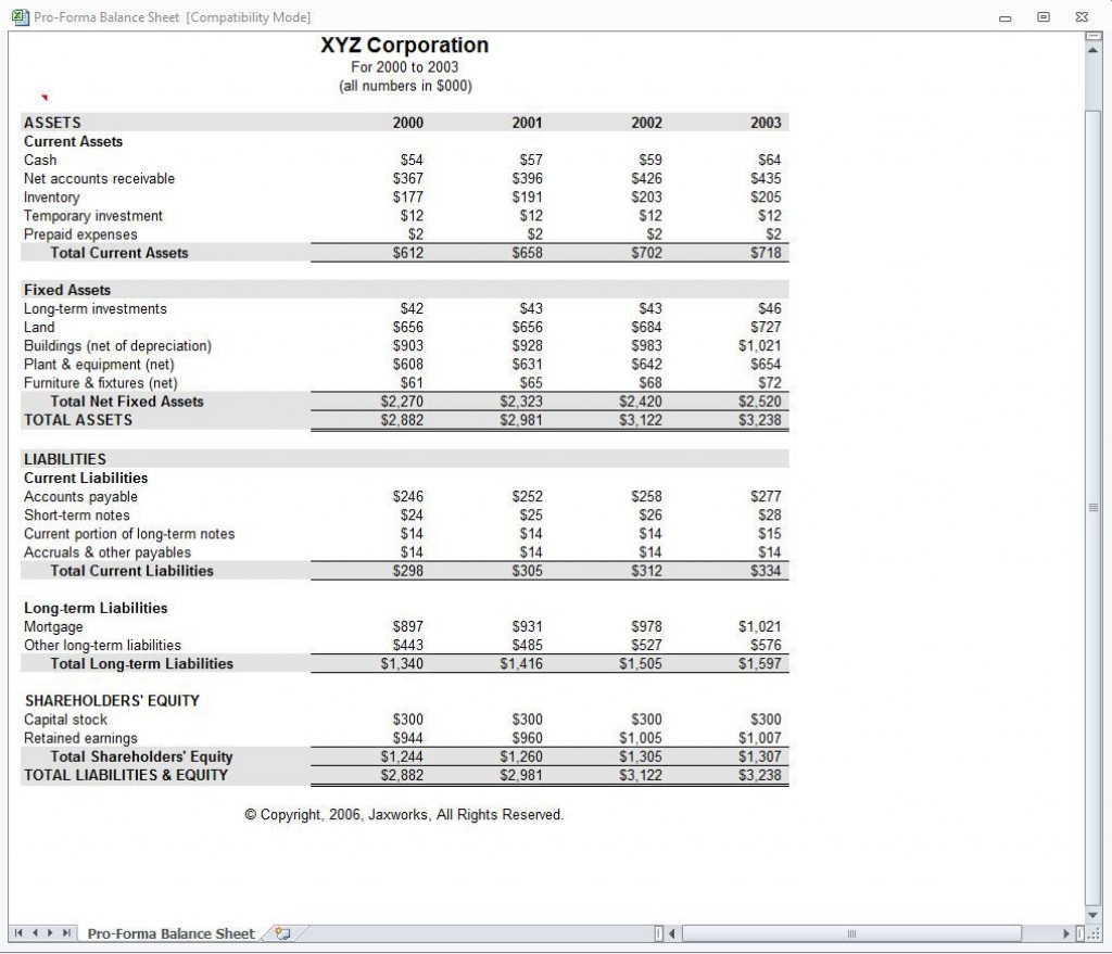007 Fearsome Pro Forma Financial Statement Template Example  Format SampleLarge