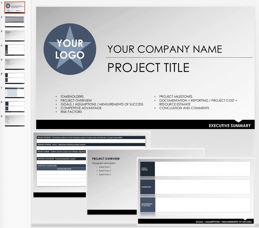 007 Fearsome Project Executive Summary Template Sample  Doc Ppt