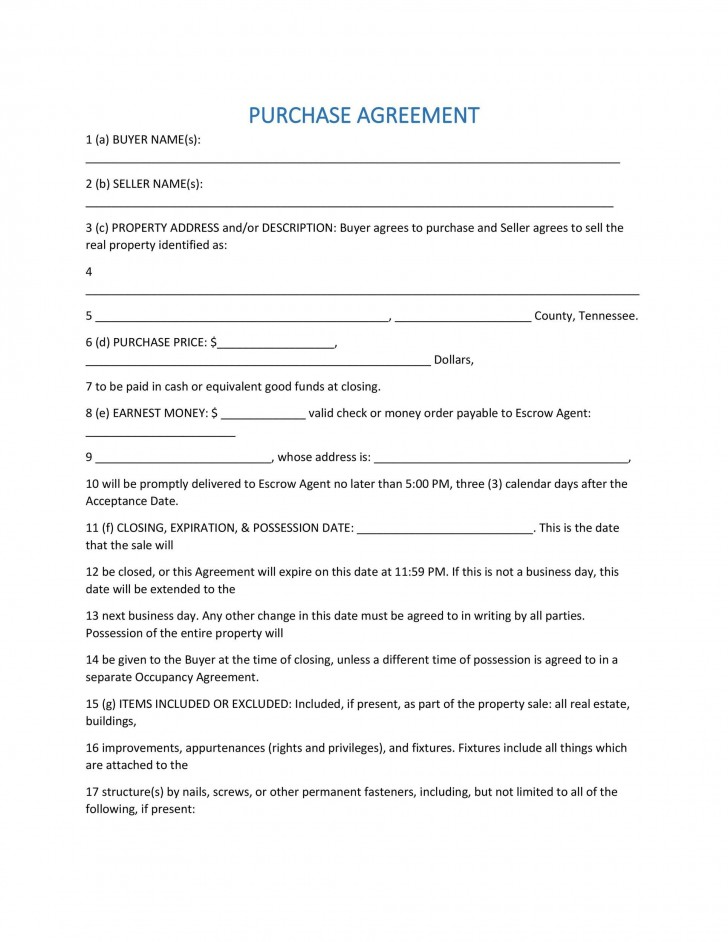 007 Fearsome Property Purchase Agreement Template Free Highest Quality  Mobile Home728