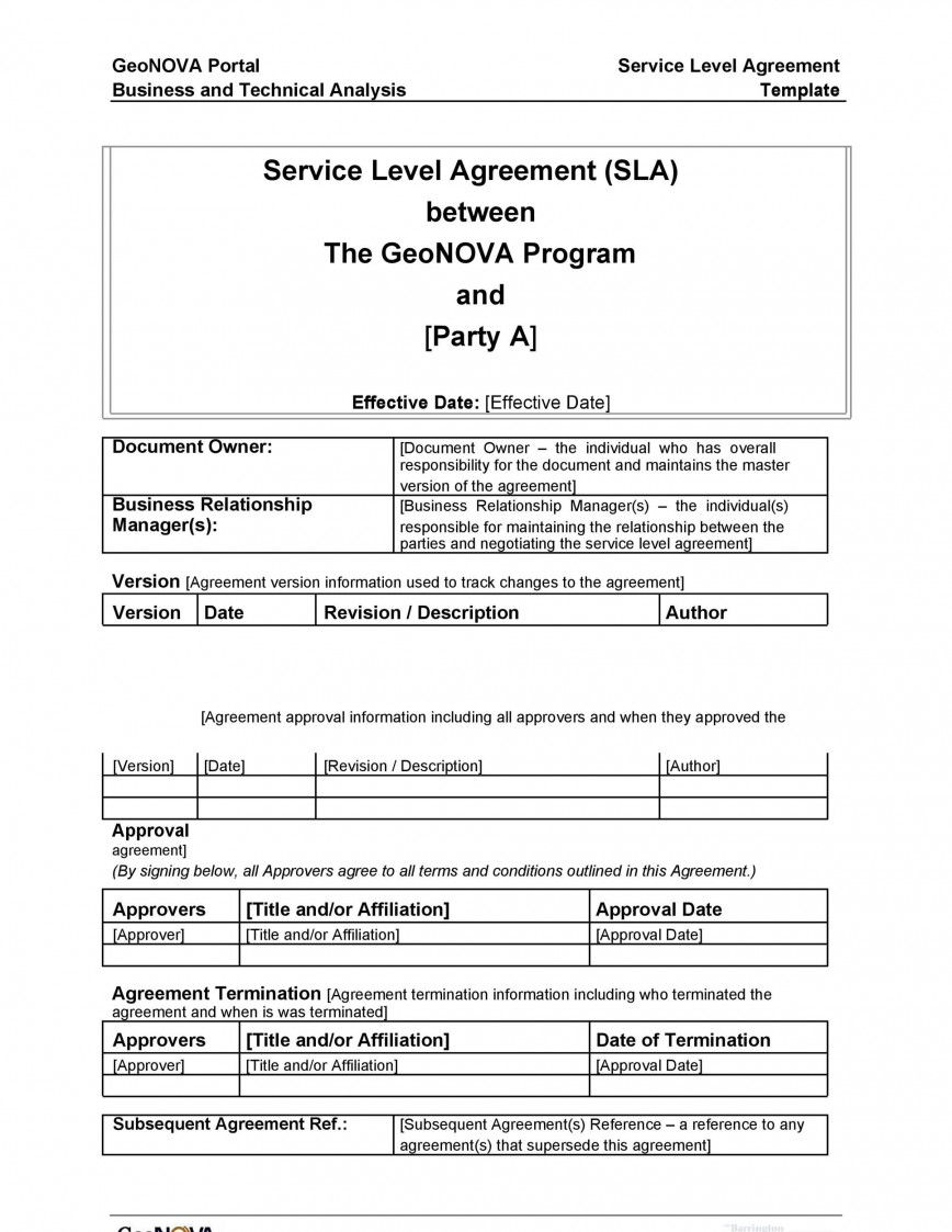 007 Fearsome Service Level Agreement Template Photo  Example South Africa Help Desk Pdf Internal Uk