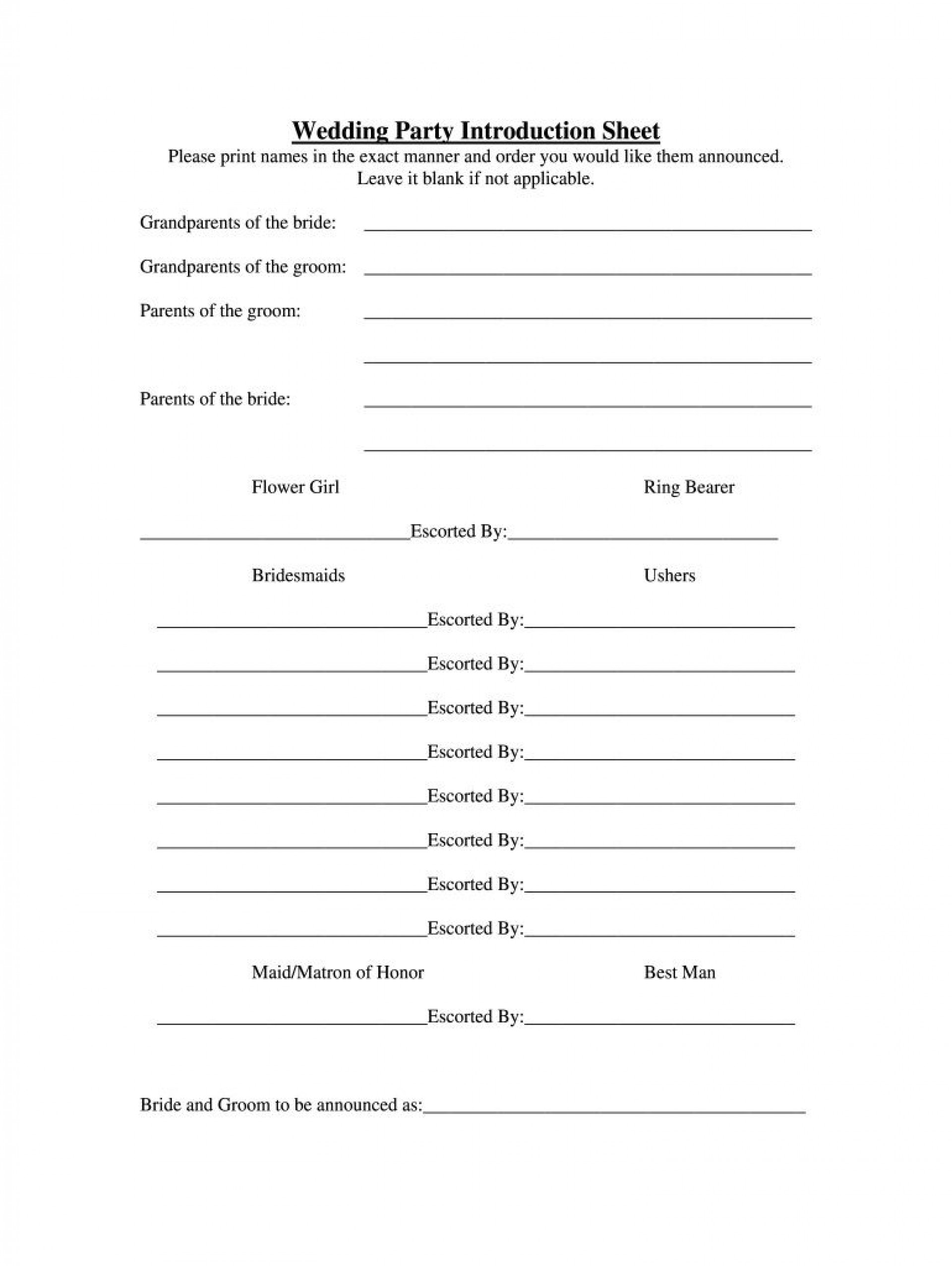 007 Fearsome Wedding Party List Template Picture  Printable Member1920