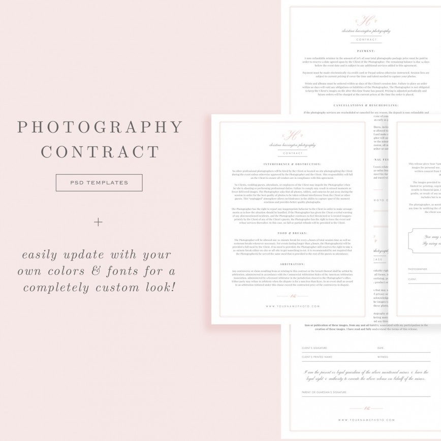 007 Fearsome Wedding Photographer Contract Template Photo  Uk Free Photography