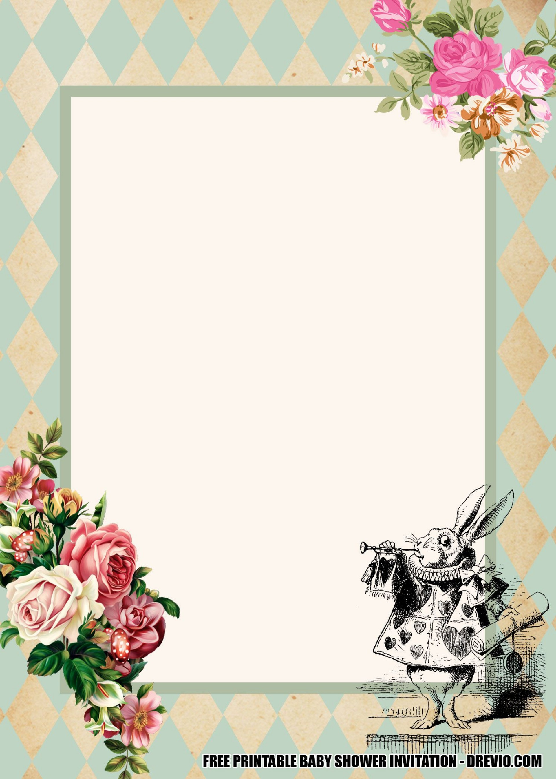 007 Formidable Alice In Wonderland Invite Template Highest Quality  Party Invitation Free1920