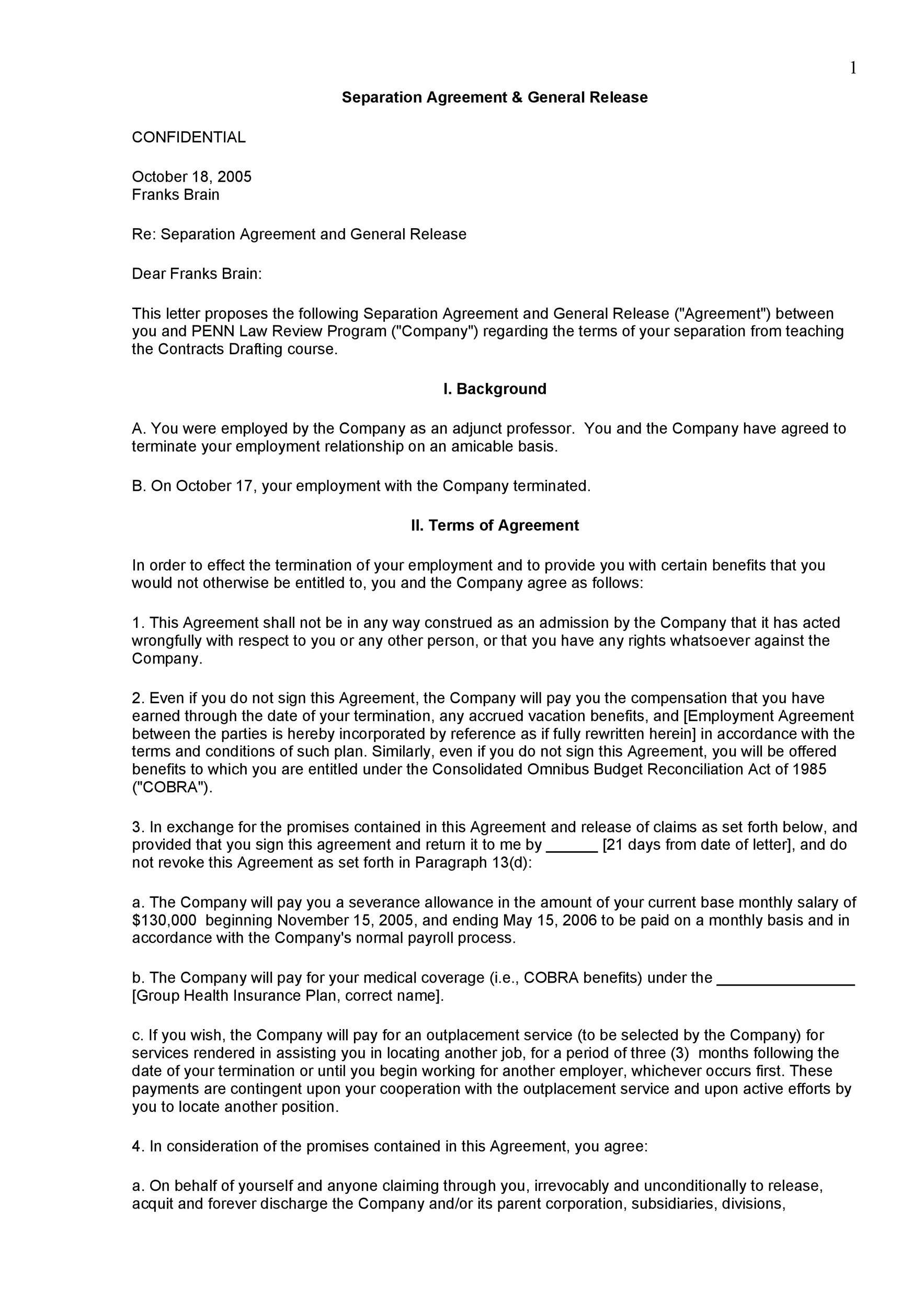 007 Formidable Employment Separation Agreement Template Highest Clarity  Nc Shrm Employee FloridaFull