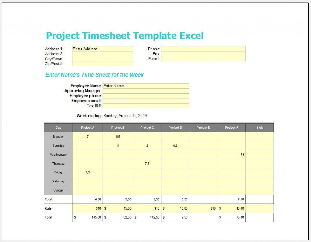 007 Formidable Excel Time Card Template Photo  M Employee Calculator FreeLarge