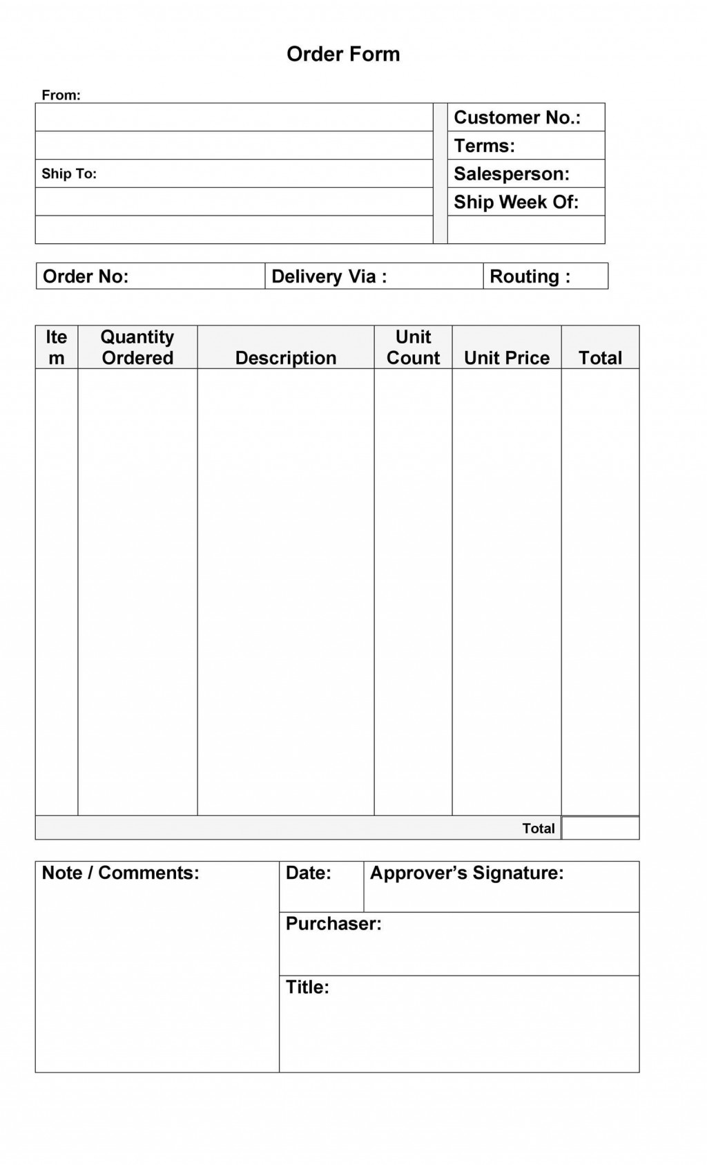 007 Formidable Food Order Form Template Word Highest Clarity Large