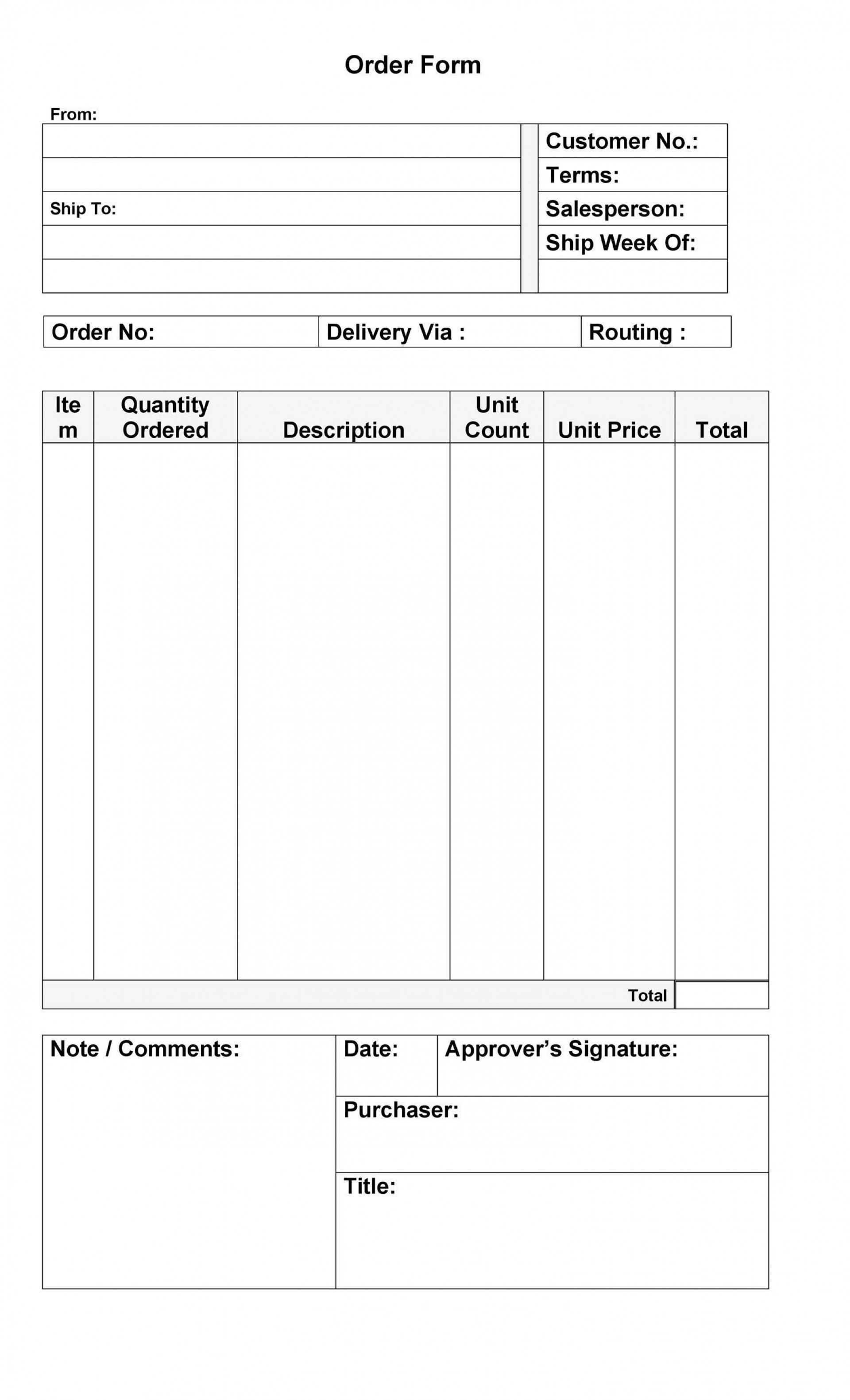 007 Formidable Food Order Form Template Word Highest Clarity 1920