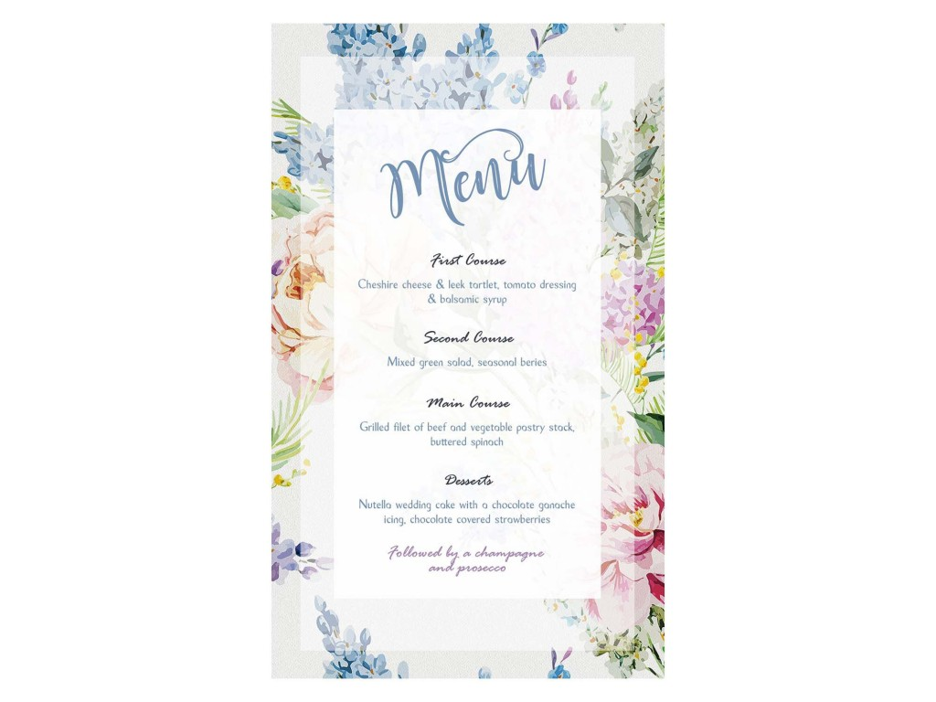 007 Formidable Free Wedding Menu Template Highest Clarity  Templates Printable For MacLarge