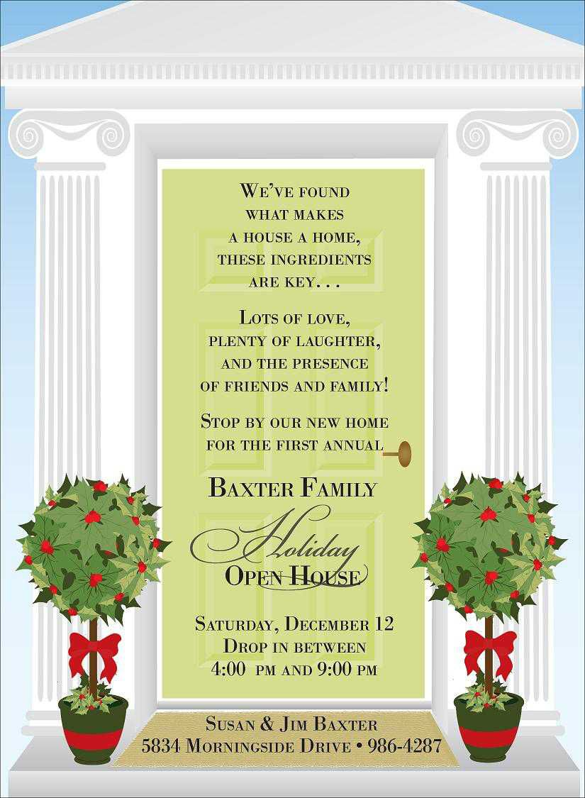 007 Formidable Holiday Open House Invitation Template Concept  Christma Free Printable Wording IdeaFull
