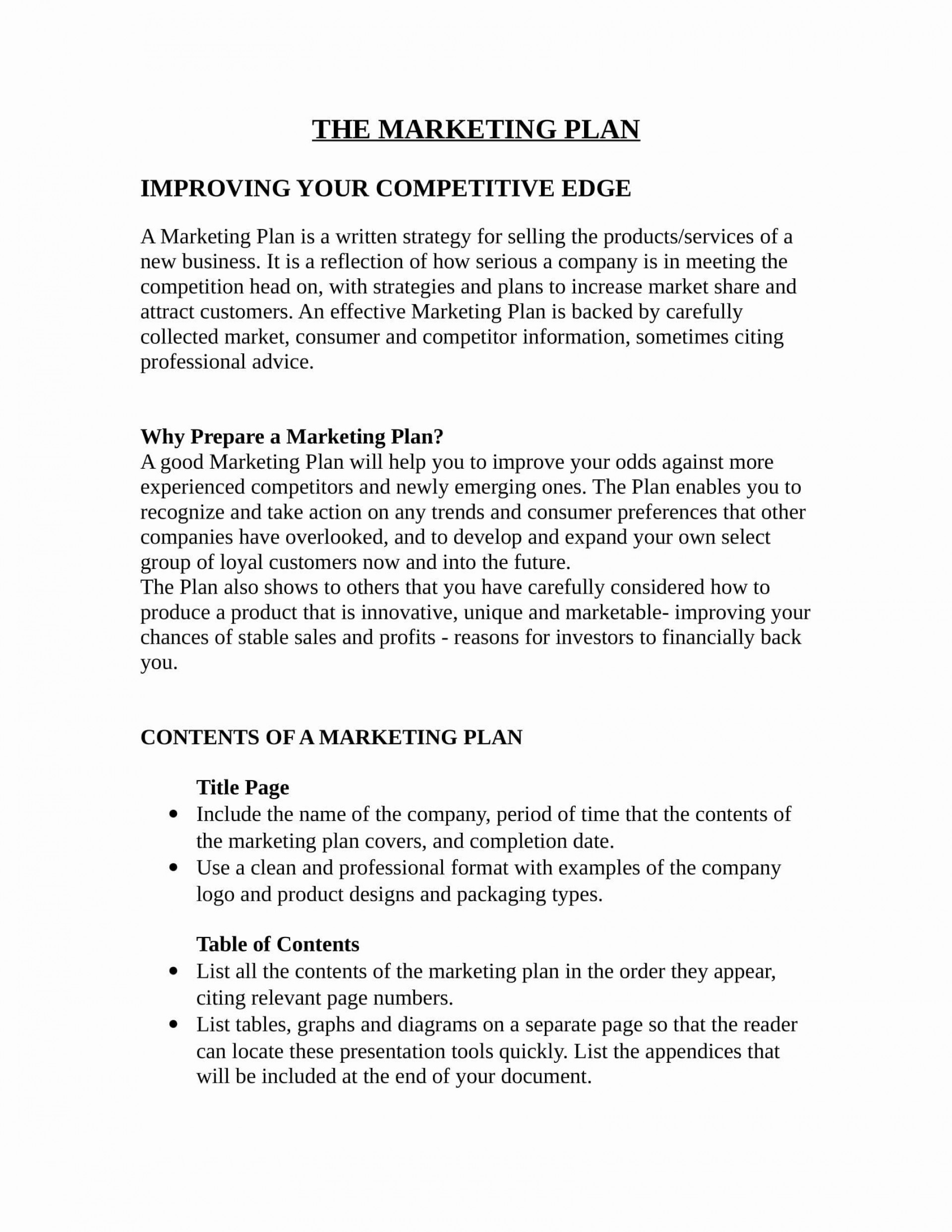 007 Formidable Marketing Busines Plan Format Picture  Template For Small Free1920