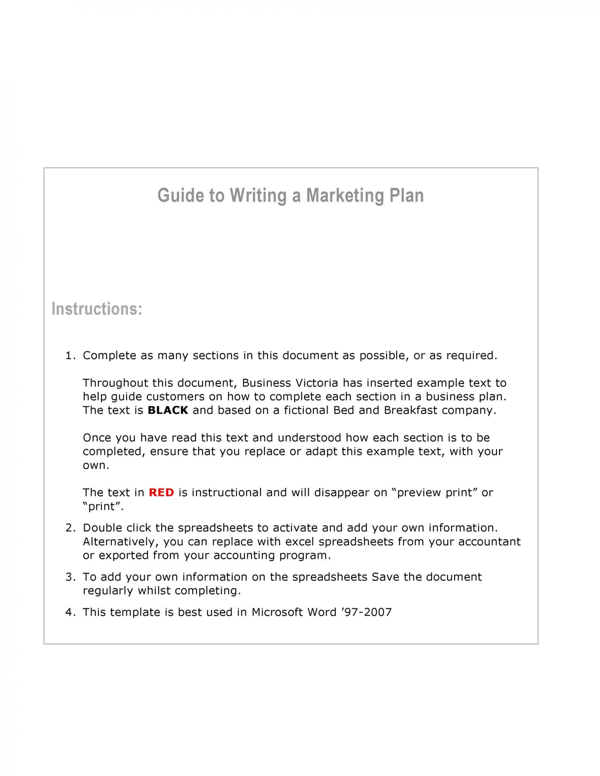 007 Formidable Marketing Plan Template Word Picture  Free Microsoft Outline (word)1920