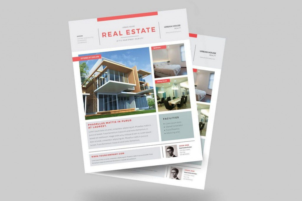 007 Formidable Real Estate Flyer Template Idea  Publisher Word FreeLarge