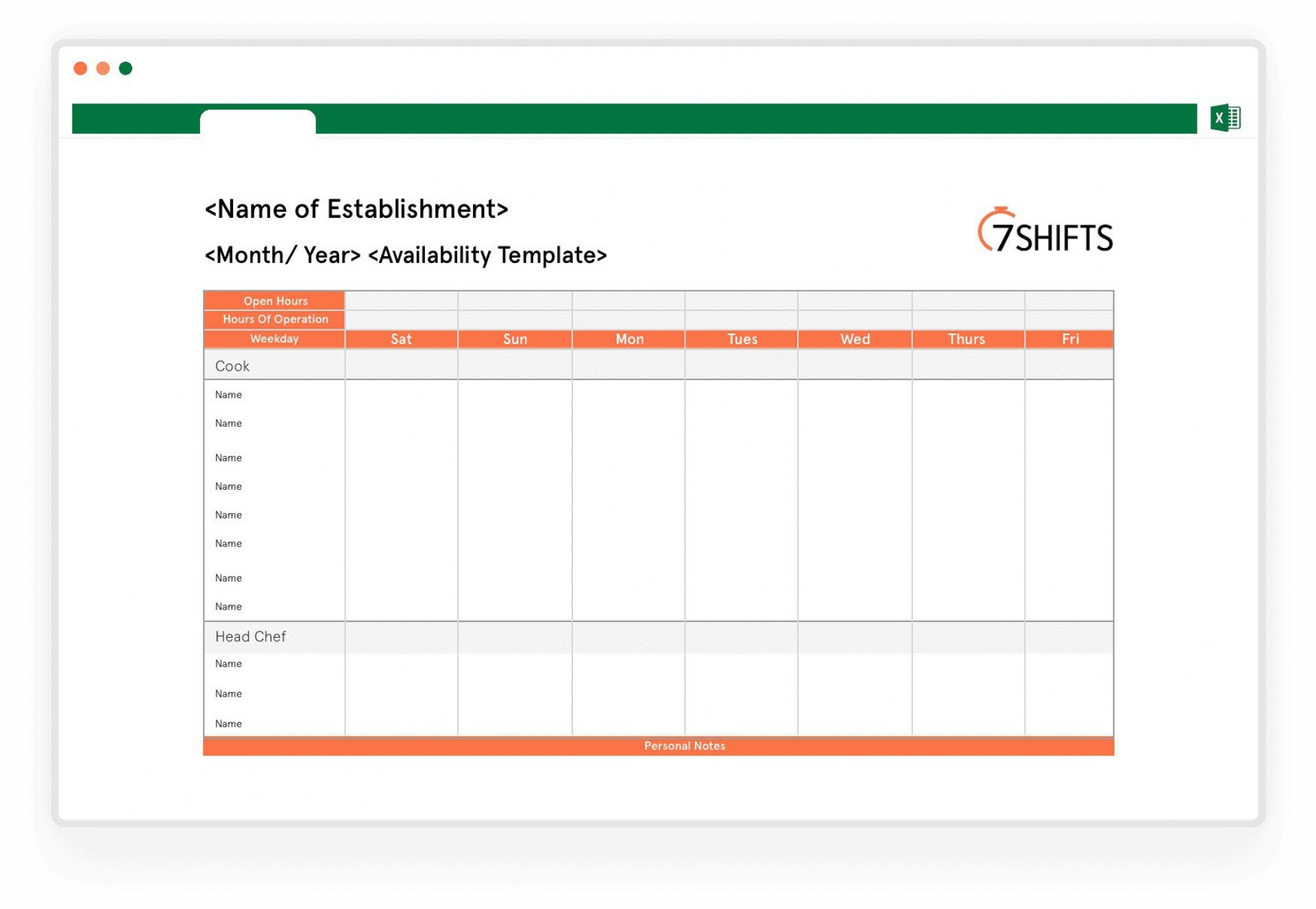 Availability Template Excel from www.addictionary.org