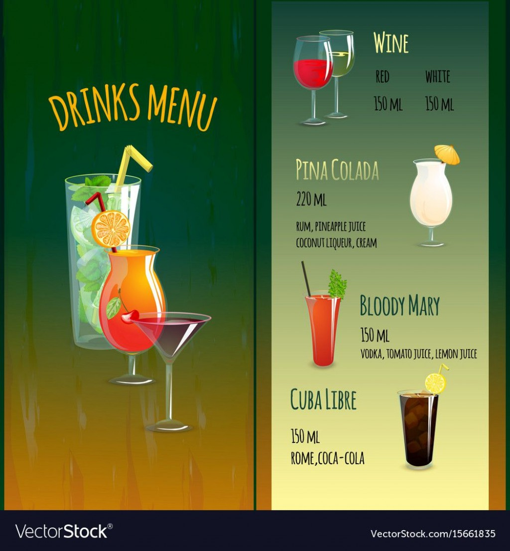 007 Frightening Bar Menu Template Free High Definition  Download SnackLarge
