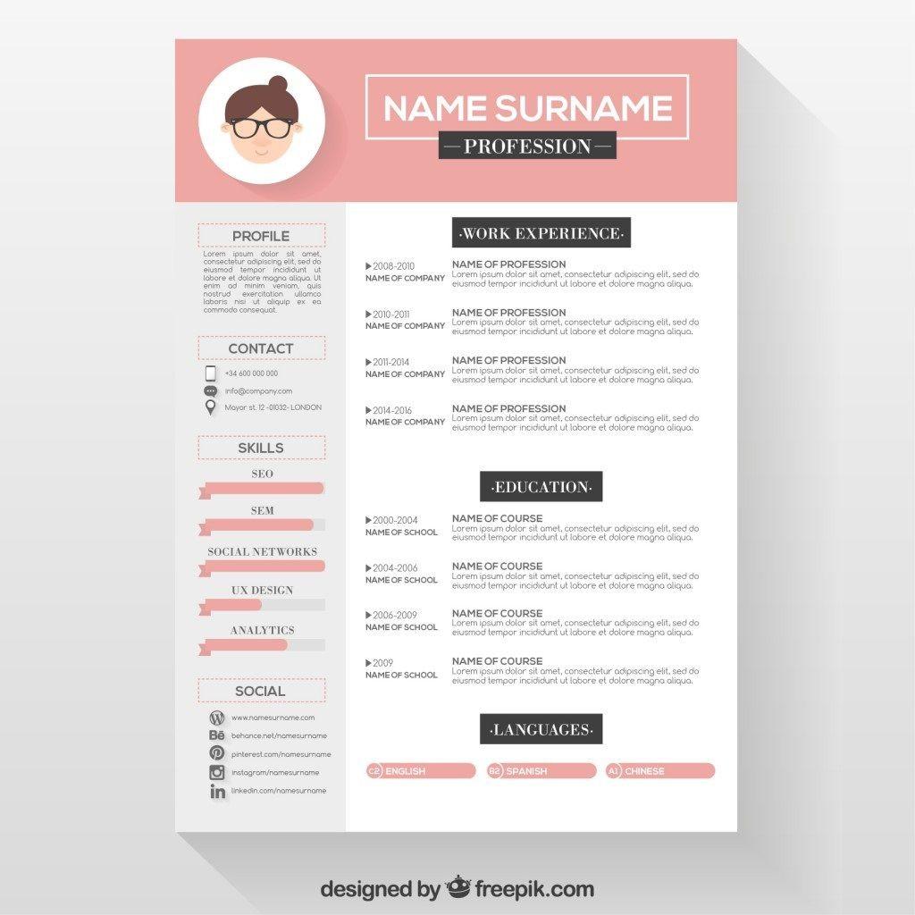 007 Frightening Download Free Resume Template Design  Word Professional 2019 2020Large