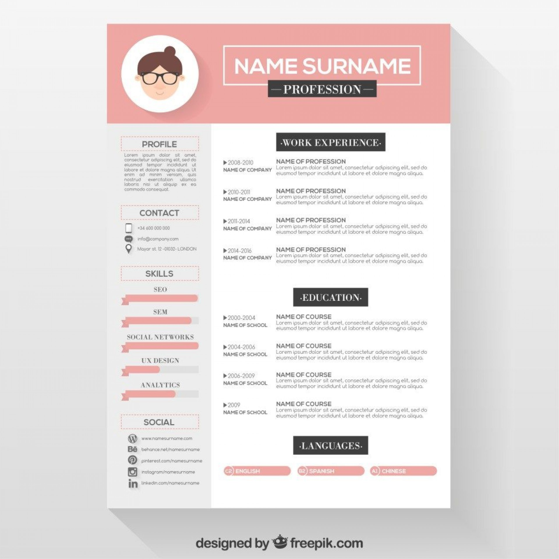 007 Frightening Download Free Resume Template Design  Word Professional 2019 20201920
