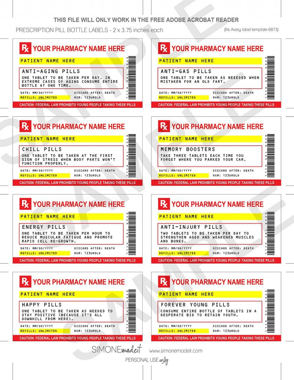 007 Frightening Fake Prescription Label Template Example  Free BottleLarge