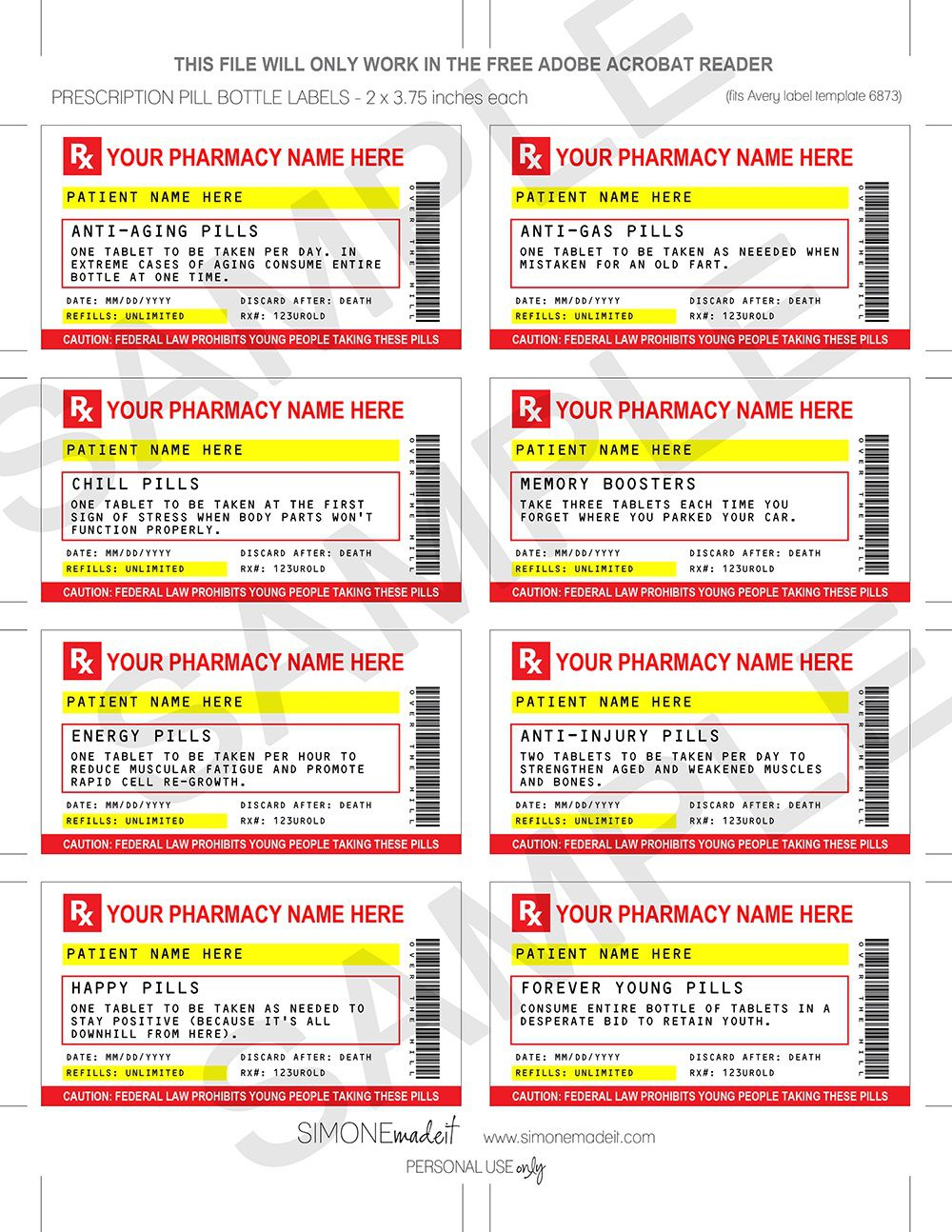 007 Frightening Fake Prescription Label Template Example  Free BottleFull