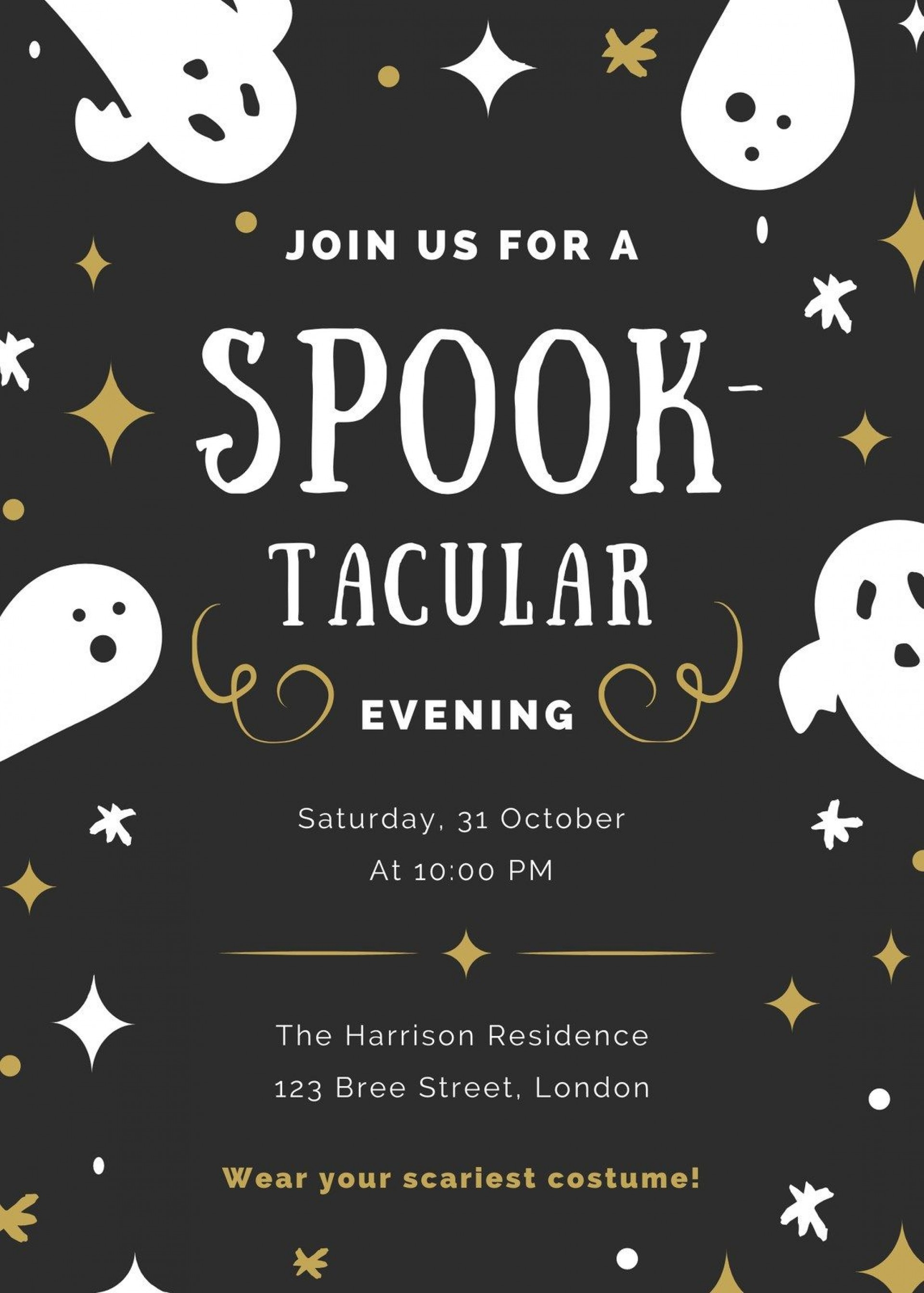007 Frightening Halloween Party Invite Template Highest Quality  Spooky Invitation Free Printable Birthday Download1920
