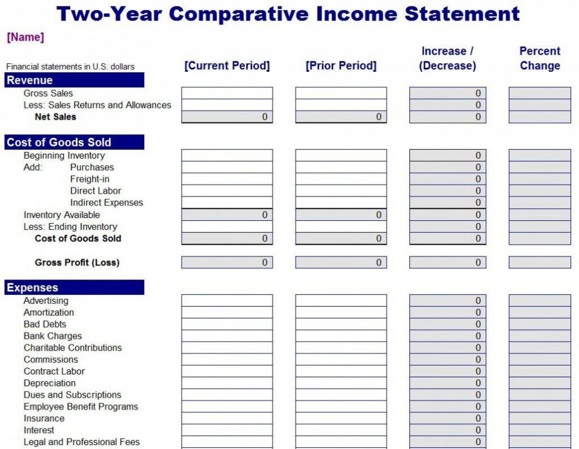007 Frightening Income Statement Format In Excel Download High Def Full