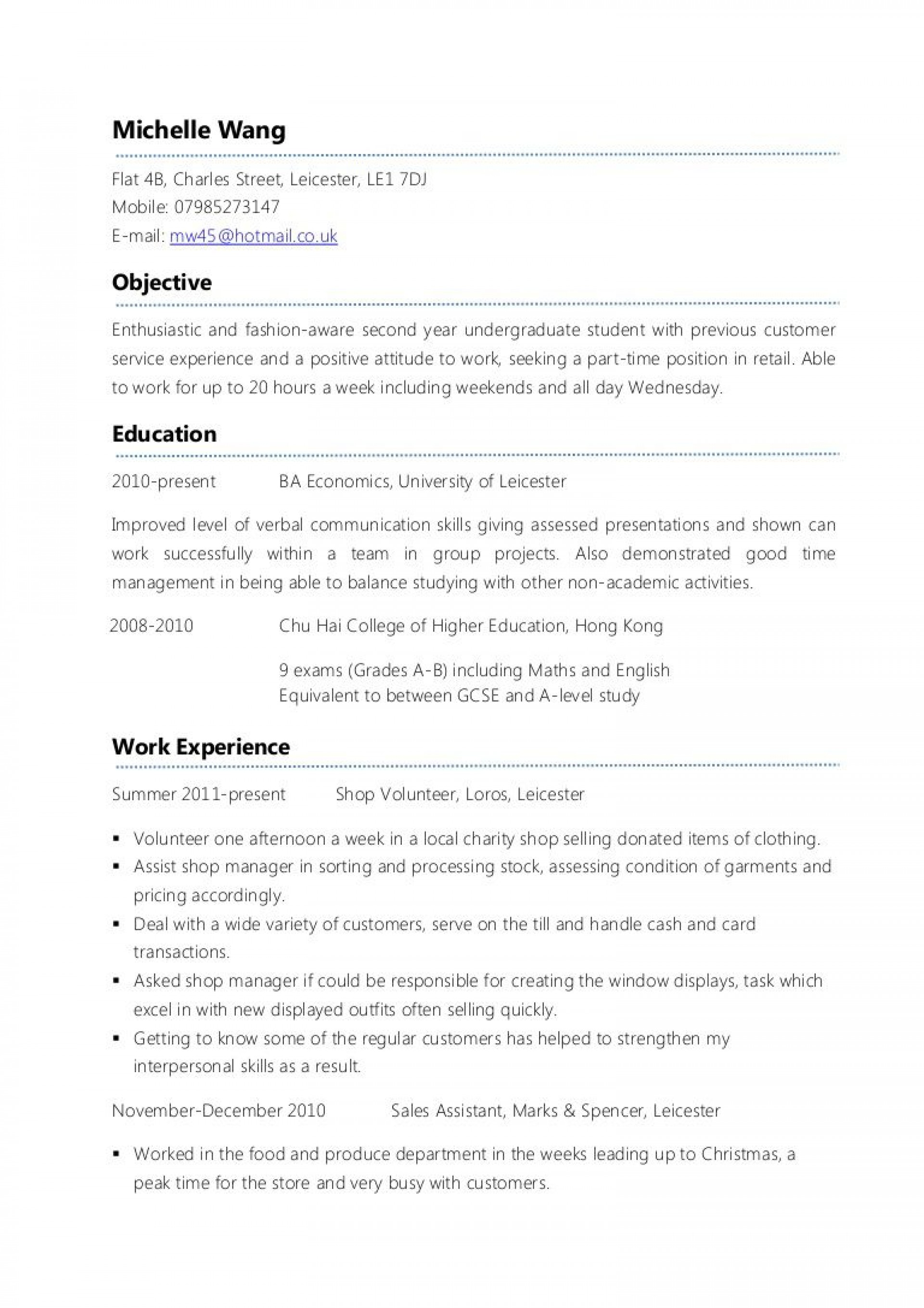 007 Frightening Part Time Job Resume Template Sample  Student Summary Example1920