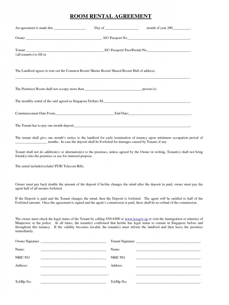 007 Frightening Printable Rental Agreement Template High Definition  Free Basic Room Word Doc Tenancy