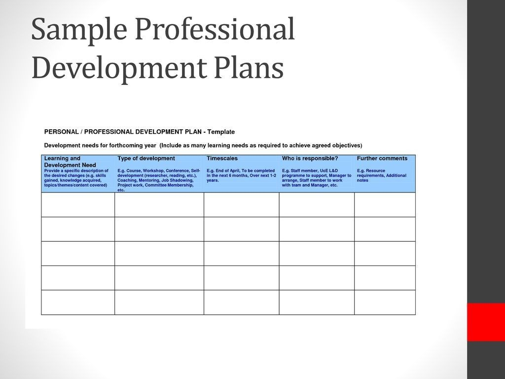 007 Frightening Professional Development Plan Template For Employee Idea  Example SampleLarge