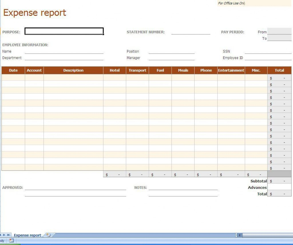 007 Frightening Small Busines Expense Report Template Excel Example Large