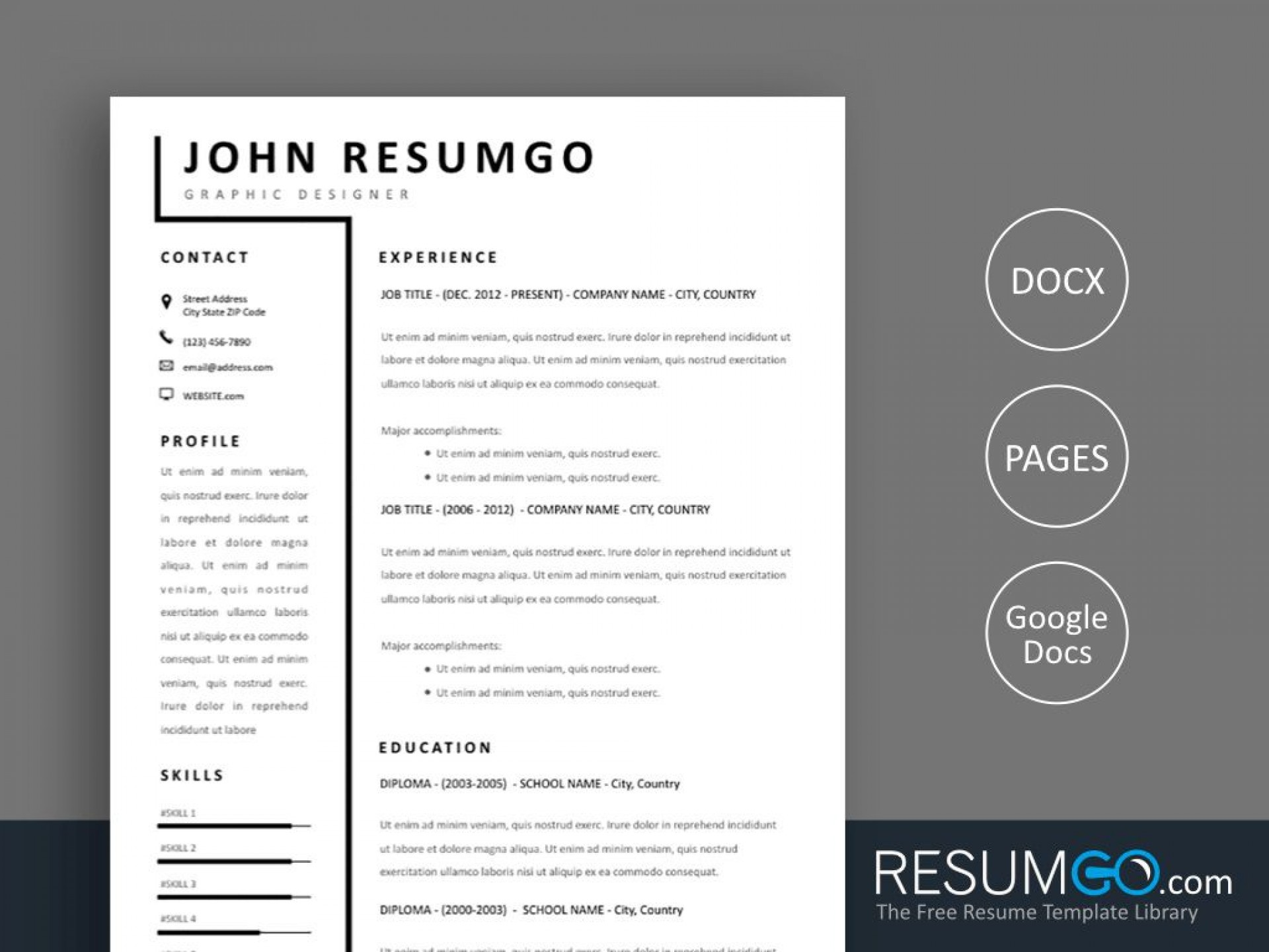 007 Frightening Two Column Resume Template Word Concept  Cv Free Microsoft1920
