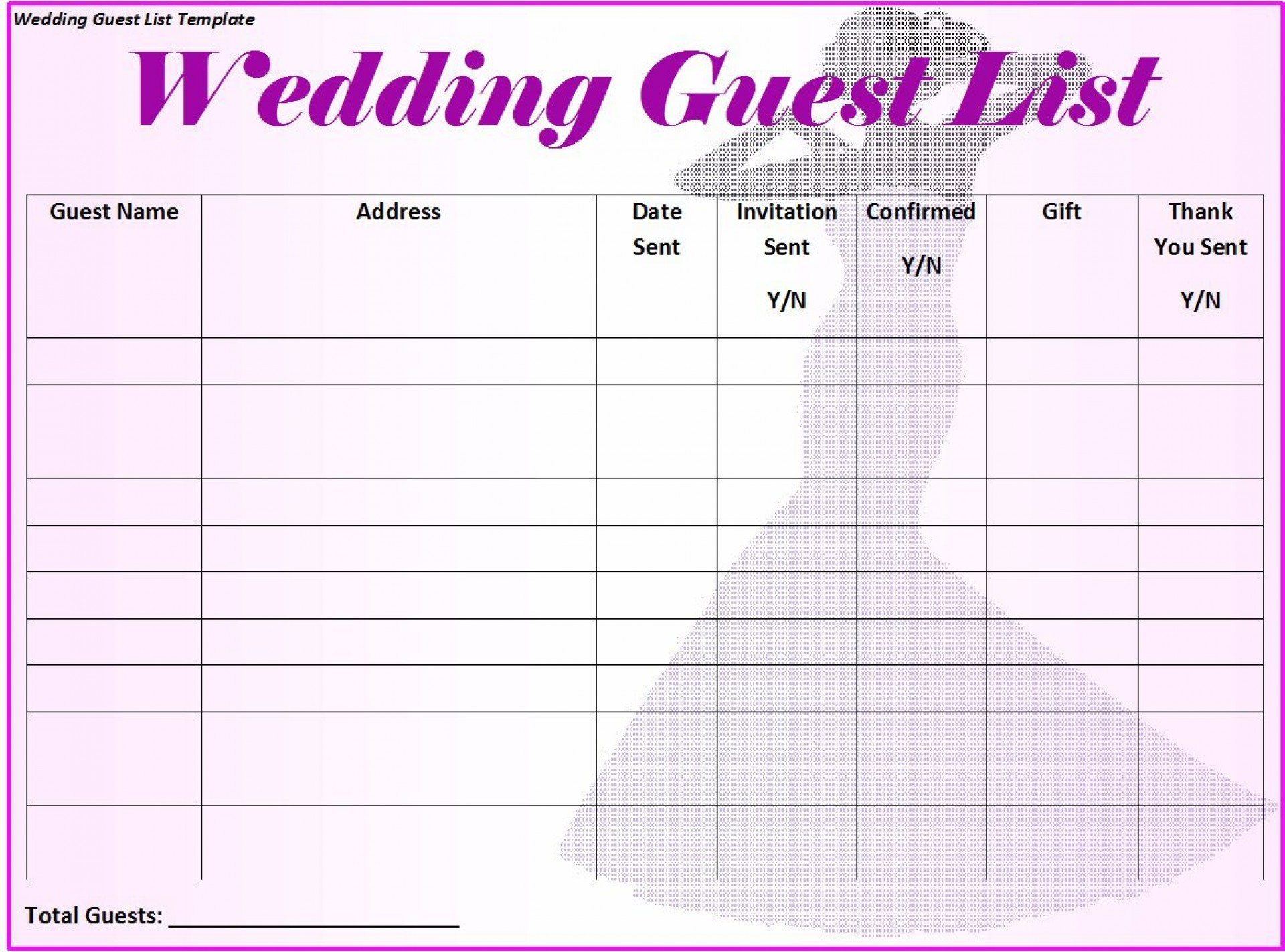 007 Frightening Wedding Guest List Template Excel Download Concept 1920