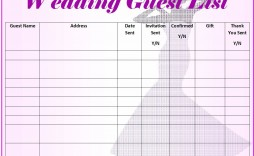 007 Frightening Wedding Guest List Template Excel Download Concept