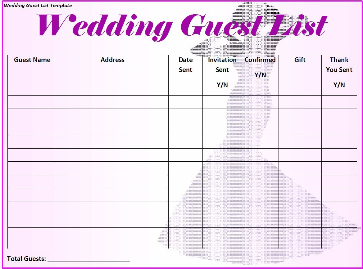 007 Frightening Wedding Guest List Template Excel Download Concept Full