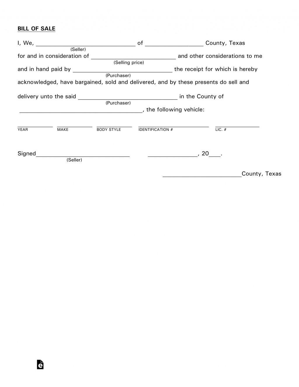 007 Imposing Bill Of Sale Template Texa Concept  Texas Free Car Form Dmv DocumentLarge