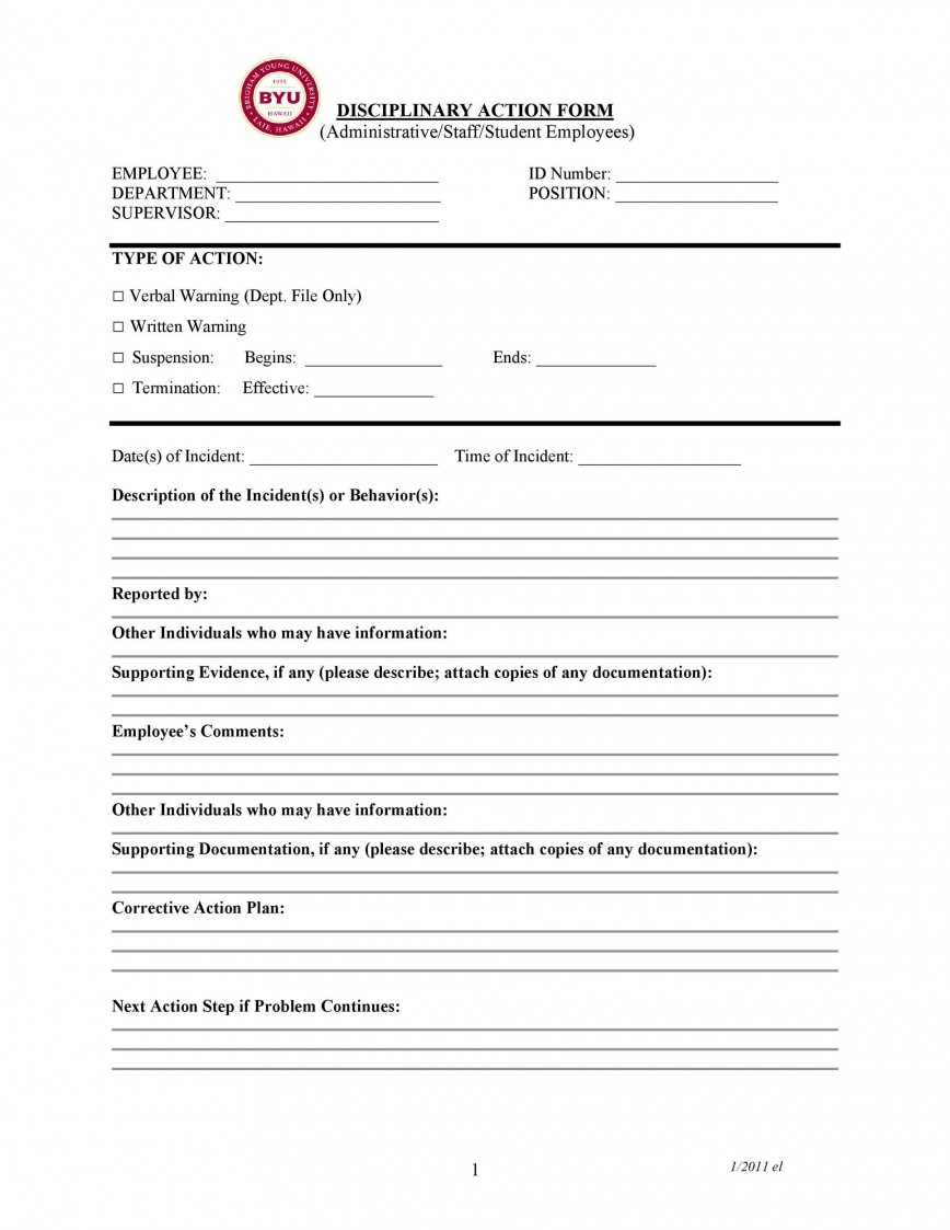 007 Imposing Corrective Action Form Template Concept  Request Free Employee Word