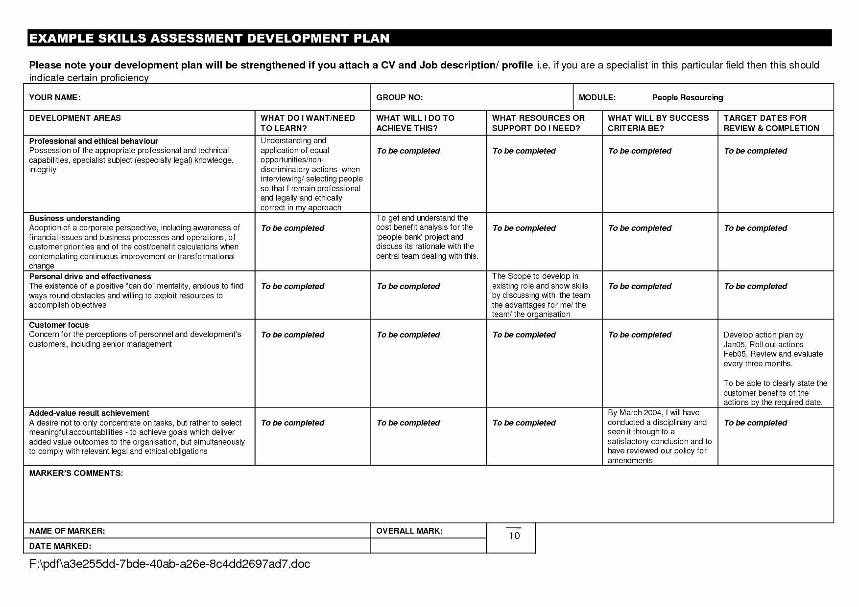 007 Imposing Employee Development Action Plan Example Idea  ExamplesFull