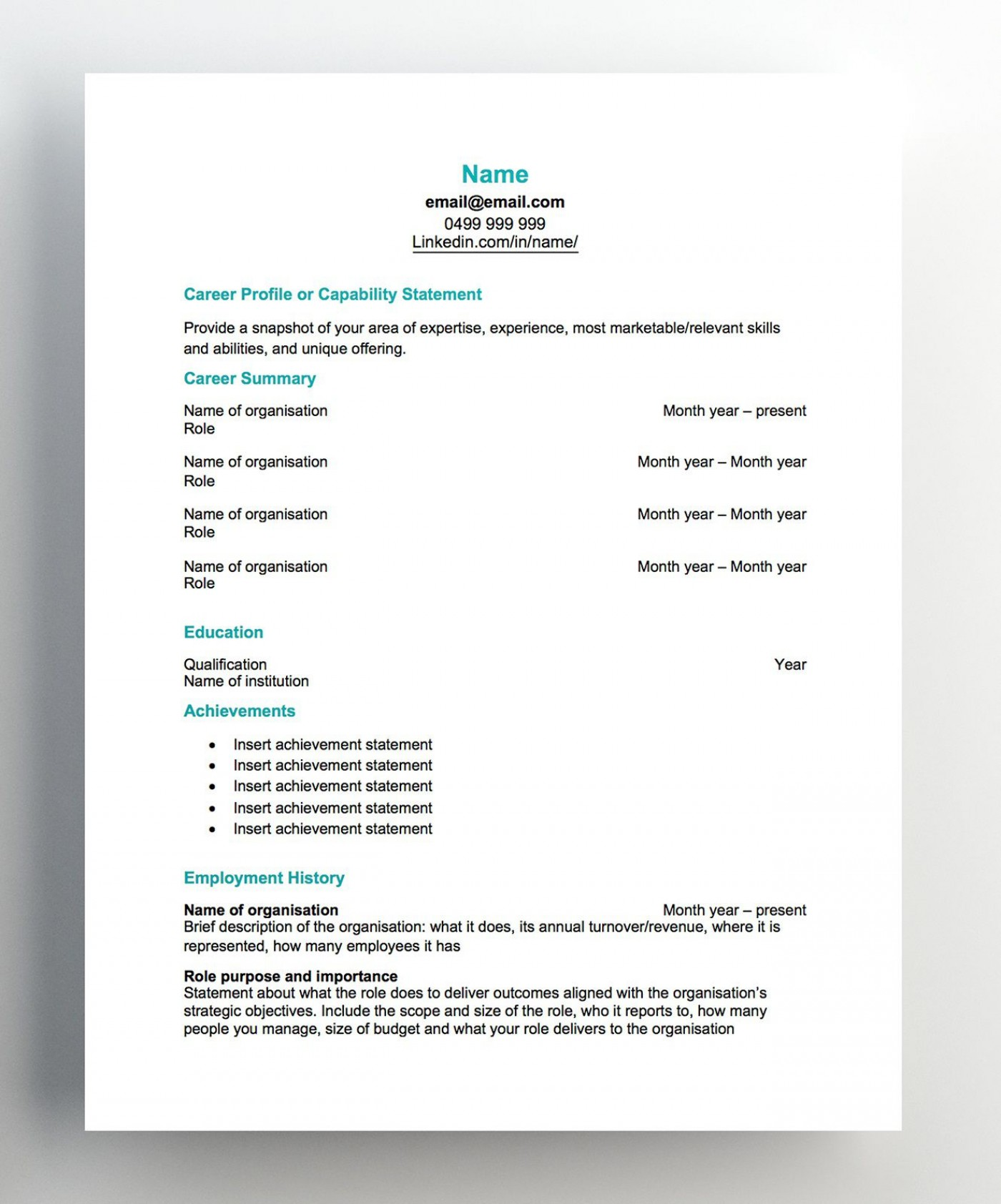 007 Imposing Free Chronological Resume Template Image  2020 Cv1400