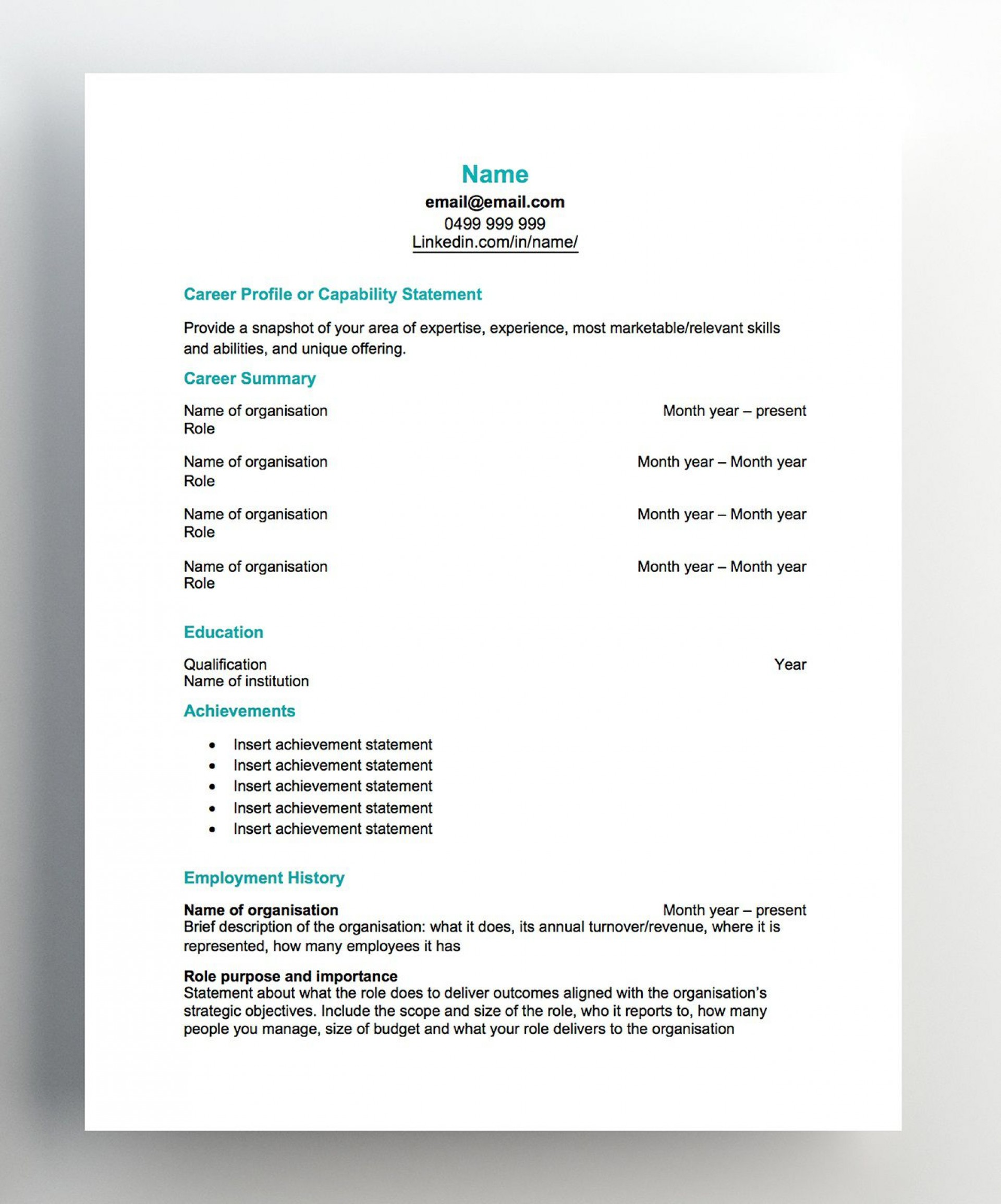 007 Imposing Free Chronological Resume Template Image  2020 Cv1920