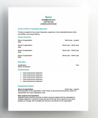 007 Imposing Free Chronological Resume Template Image  2020 Cv320