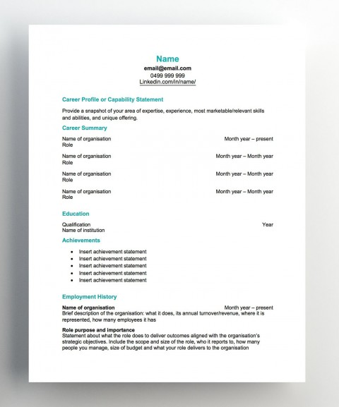 007 Imposing Free Chronological Resume Template Image  2020 Cv480