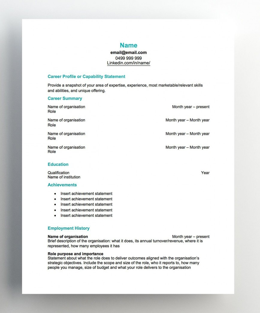 007 Imposing Free Chronological Resume Template Image  2020 Cv868