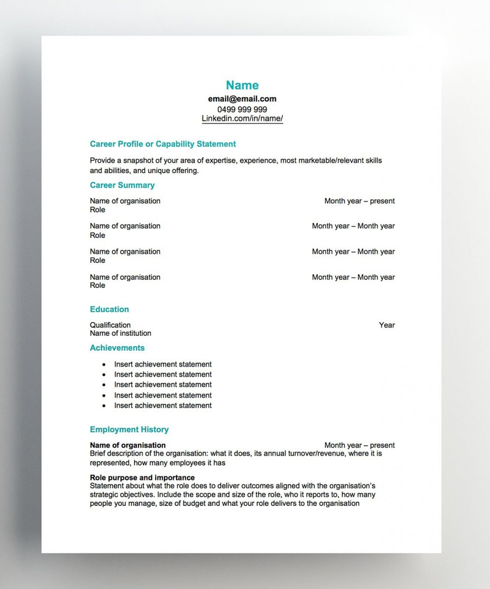 007 Imposing Free Chronological Resume Template Image  2020 Cv960