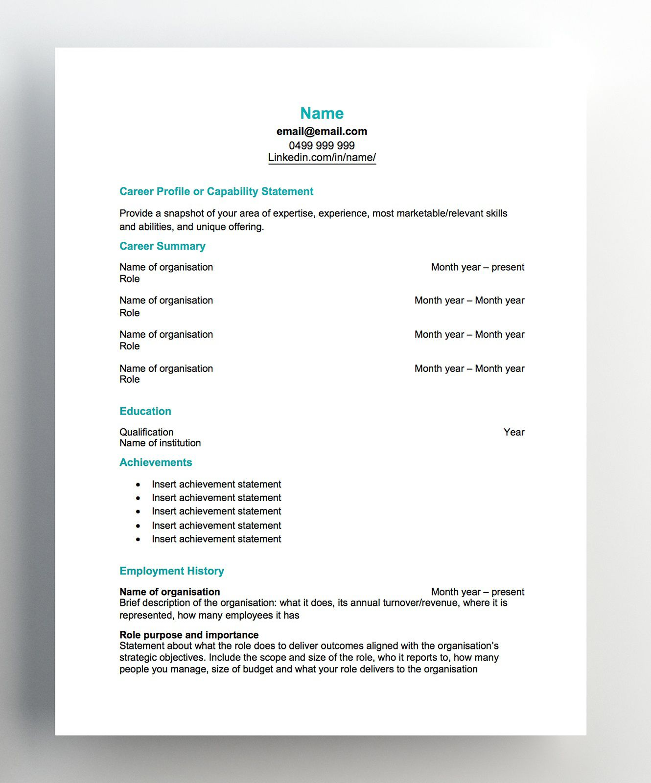 007 Imposing Free Chronological Resume Template Image  2020 CvFull