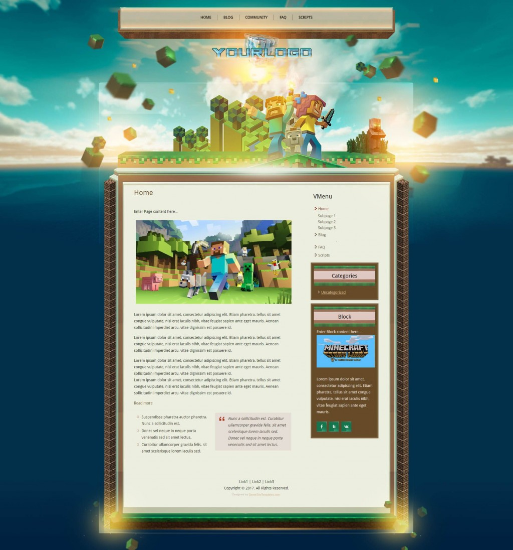 007 Imposing Minecraft Website Template Html Free Download Image Large