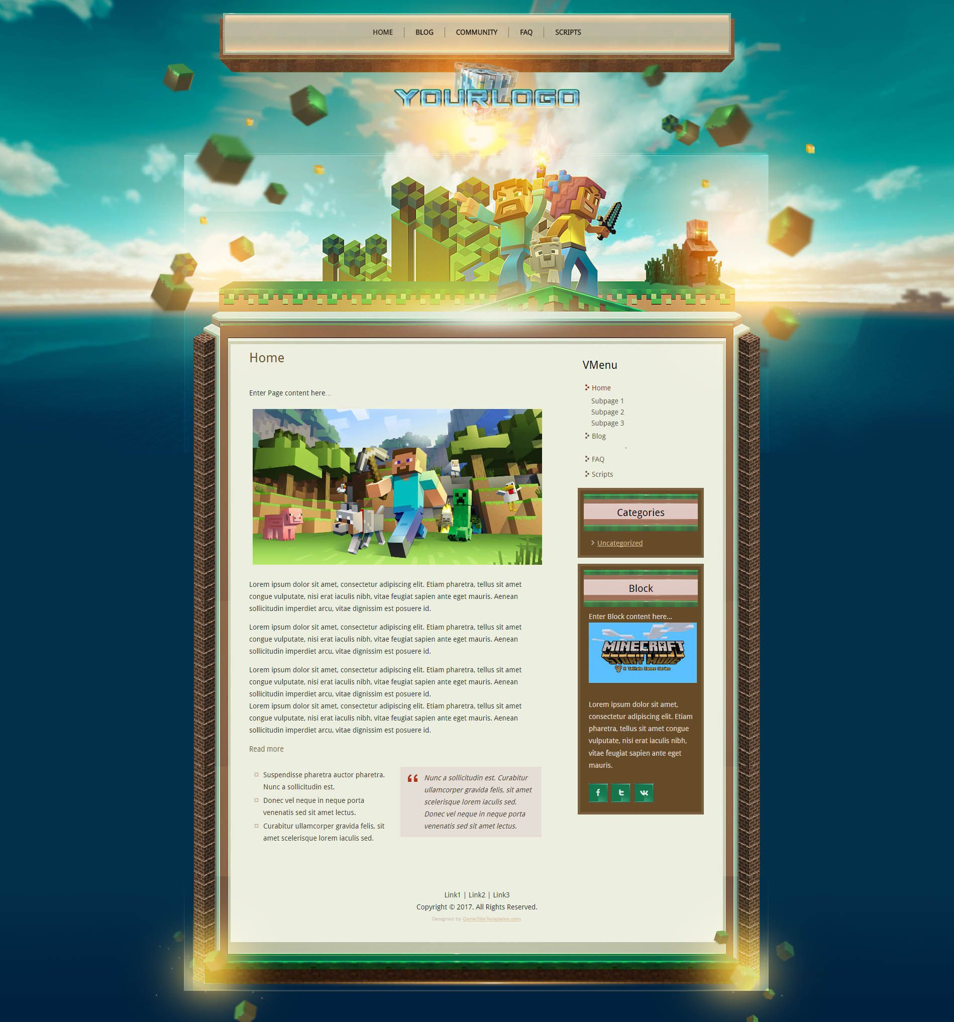 007 Imposing Minecraft Website Template Html Free Download Image Full