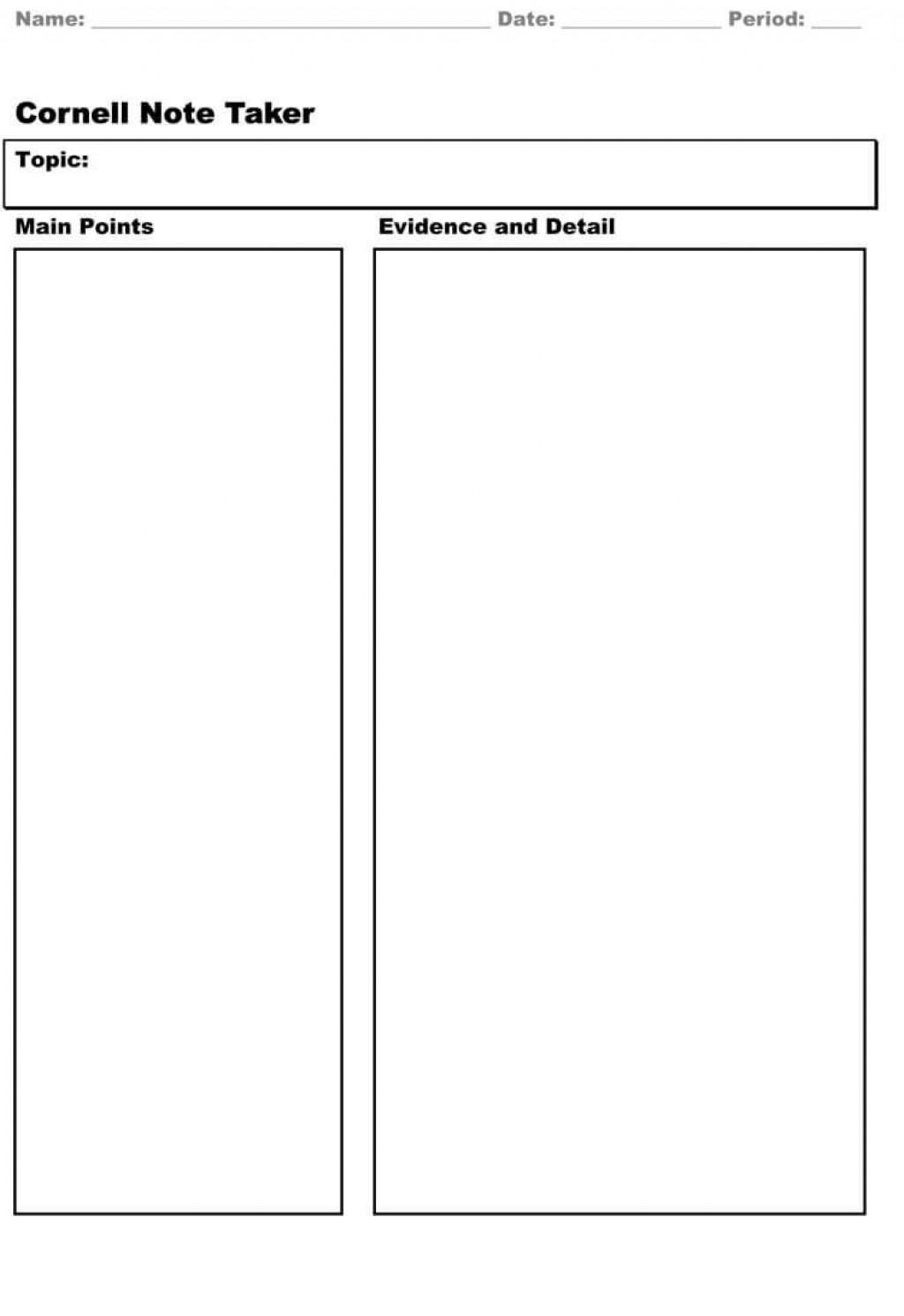 007 Imposing Note Taking Template Word Example  Microsoft Cornell Doc MethodLarge