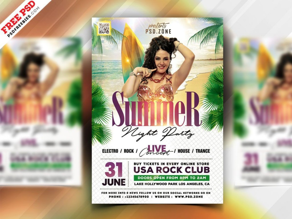 007 Imposing Summer Party Flyer Template Free Download Concept Large