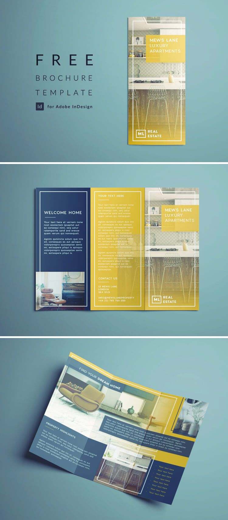 007 Imposing Three Fold Brochure Template Indesign Highest Quality  3 A4Full