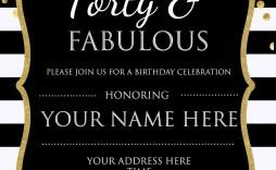 007 Impressive 40th Birthday Party Invite Template Free Inspiration