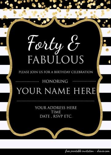 007 Impressive 40th Birthday Party Invite Template Free Inspiration 360
