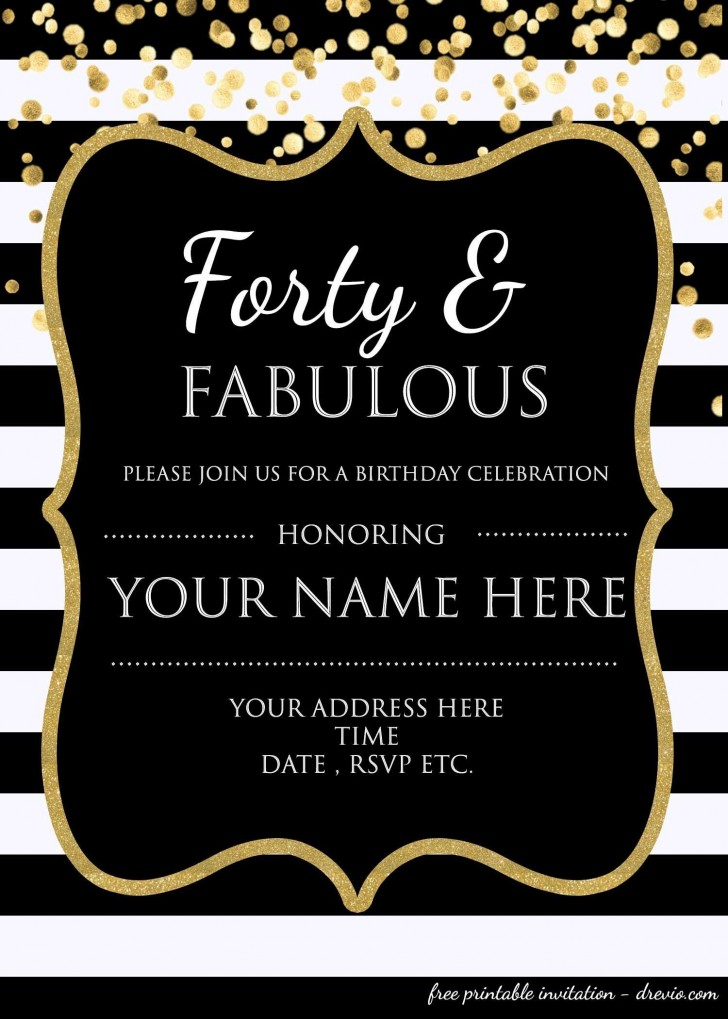 007 Impressive 40th Birthday Party Invite Template Free Inspiration 728